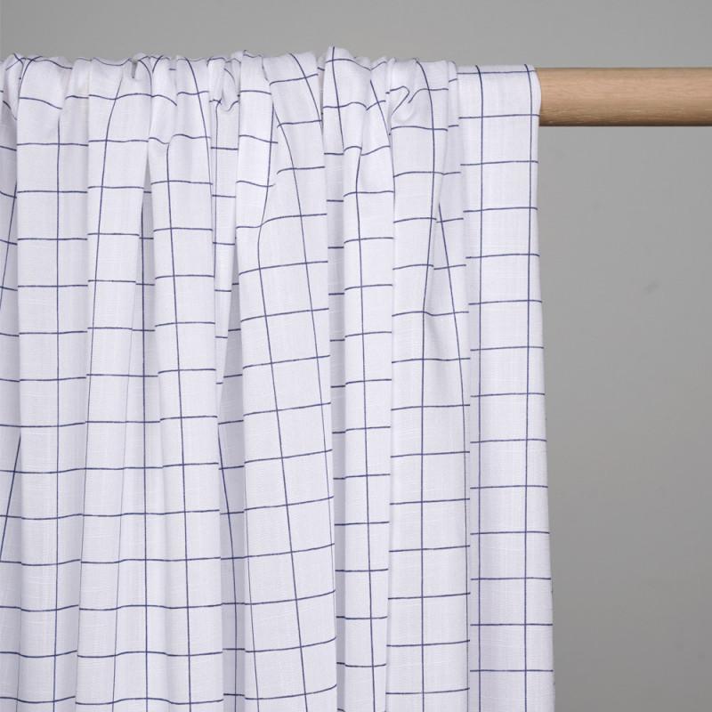 tissu coton et lin a carreaux blanc casse et bleu  - pretty mercerie - mercerie en ligne