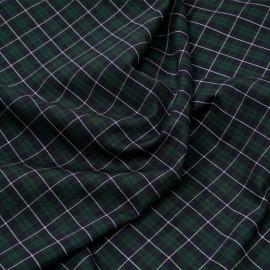 Tissu coton et lycra tartan bleu et vert x 10cm