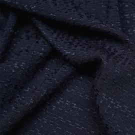Tissu viscose bleu nuit à motif tissé satiné et texturé X 10 CM