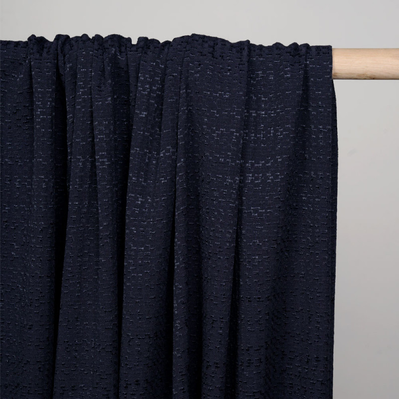 Tissu viscose bleu nuit à motif tissé satiné et texturé - pretty mercerie - mercerie en ligne