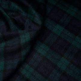 Tissu drap de laine tartan bleu et vert  x 10cm