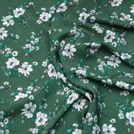 Tissu viscose vert myrte fleurs des champs blanche, bleu et rose  x 10 CM