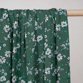 Tissu viscose vert myrte fleurs des champs blanche, bleu et rose - Pretty mercerie - mercerie en ligne