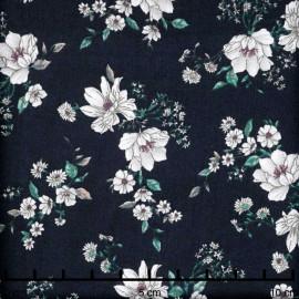 Tissu viscose bleu marine fleurs des champs blanche, bordeaux et vert - Pretty mercerie - mercerie en ligne