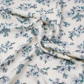 Tissu viscose blanc birch fleurs des champs grise, bleu marine et vert x 10 CM