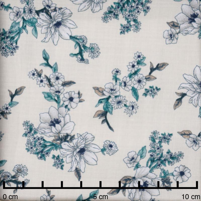 Tissu viscose blanc birch fleurs des champs grise, bleu marine et vert  - Pretty mercerie - mercerie en ligne