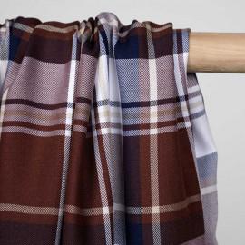 Tissu viscose tartan chocolat beige, bleu marine et blanc - pretty mercerie - mercerie en ligne