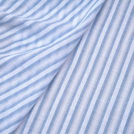 Tissu coton blanc à motif rayures brodées bleu ciel x 10cm
