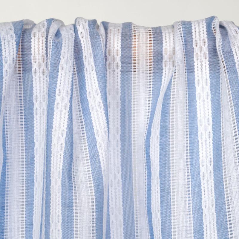 Tissu coton blanc à motif rayures brodées bleu ciel  - pretty mercerie - mercerie en ligne