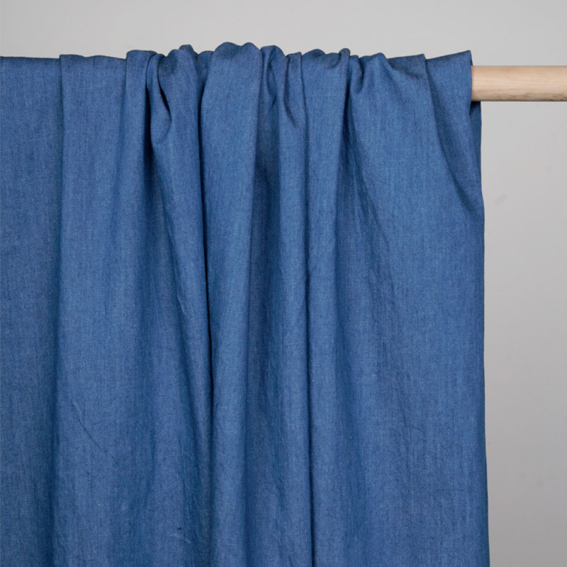 Tissu denim bio-stone washed federal blue - pretty mercerie - mercerie en ligne