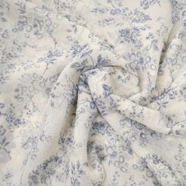 Tissu soie pristine à motif fleuri bleu mosaïque  - pretty mercerie - mercerie en ligne