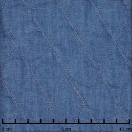 Tissu matelassé blue denim à motif losange  - pretty mercerie - mercerie en ligne