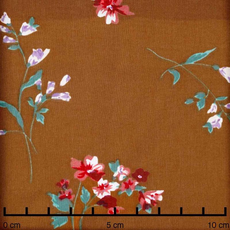 Tissu viscose caramel jolies fleurs roses, bleu et vertes - pretty mercerie - mercerie en ligne