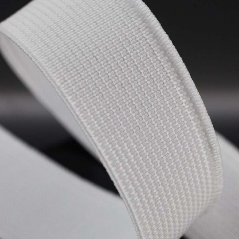 Elastic flat white 20 mm