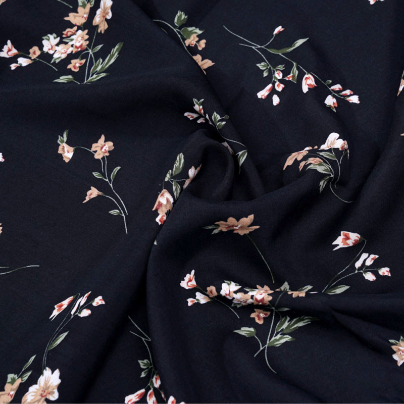 Tissu viscose bleu foncé jolies fleurs roses et vertes - Pretty mercerie - mercerie en ligne