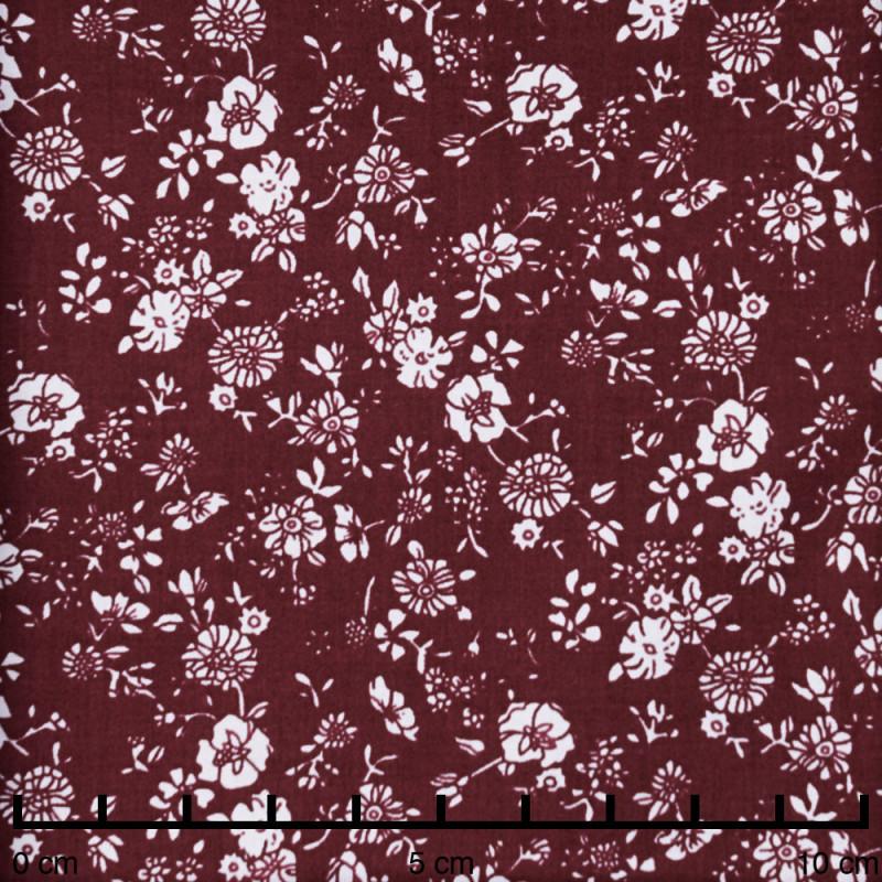 Tissu coton tawny port à motif jolies fleur blanches - pretty mercerie - mercerie en ligne