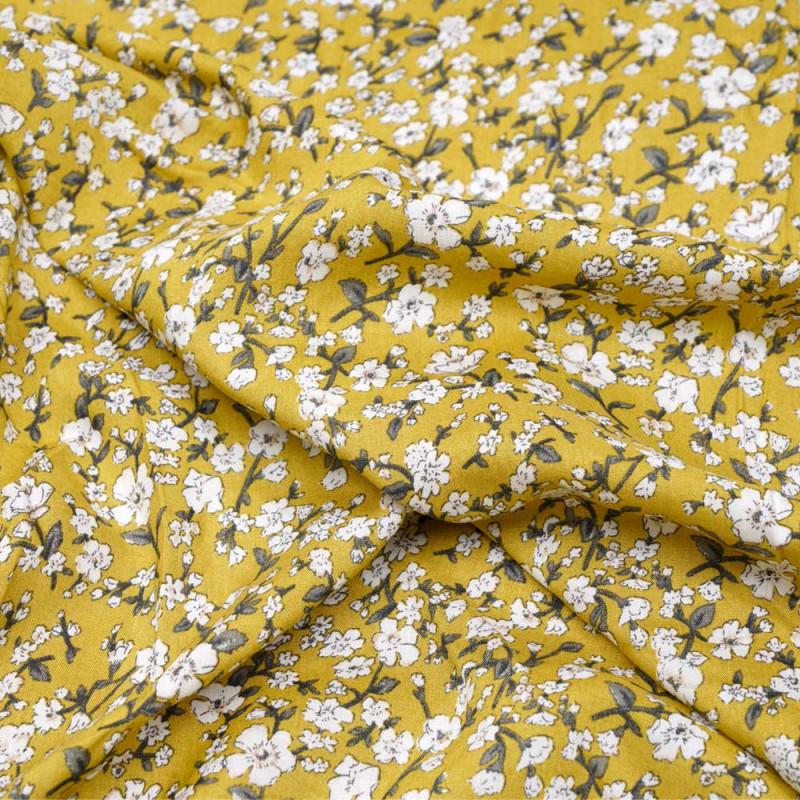 Tissu viscose jaune bambou petites fleurs kaki et blanche - Pretty mercerie - mercerie en ligne