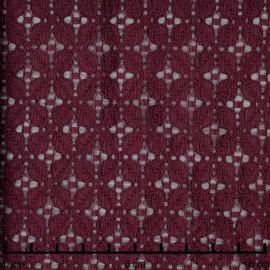 Tissu dentelle prune à motif fleuris quatre pétales - pretty mercerie - mercerie en ligne