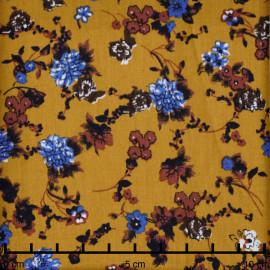 Tissu coton sunflower à motif fleuri bleu roi et taupe  - pretty mercerie - mercerie en ligne