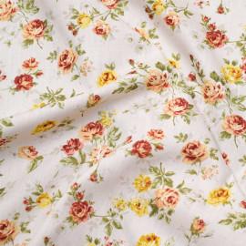 Tissu coton écru à motif fleuri jaune et orange x 10cm