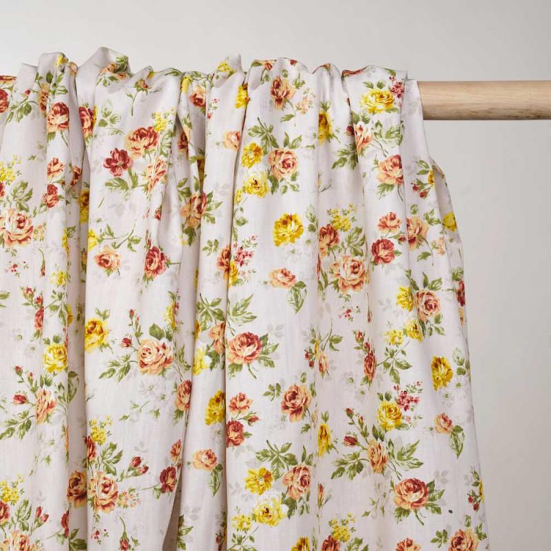 Tissu coton écru à motif fleuri jaune et orange - Pretty mercerie - mercerie en ligne