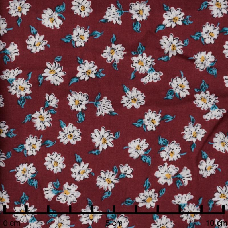 Tissu viscose ruby wine imprimé marguerites blanches, mimosa et vertes  - pretty mercerie - mercerie en ligne