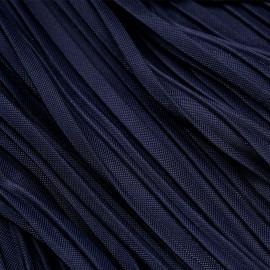 Tissu plissé bleu marine pailleté argent x 10 cm