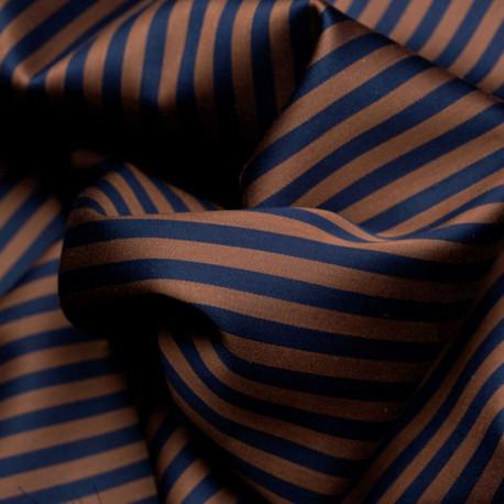 Tissu tencel et coton bleu à rayures chocolat  - pretty mercerie - mercerie en ligne