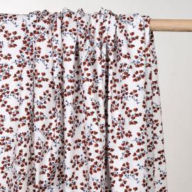 Tissu coton blanc imprimé branches fleuris rouge et bleu - pretty mercerie - mercerie en ligne