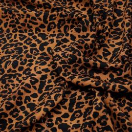 Tissu marron bombay à motif léopard noir x 10cm