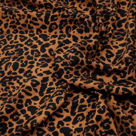 Tissu marron bombay à motif léopard noir  pretty mercerie - mercerie en ligne