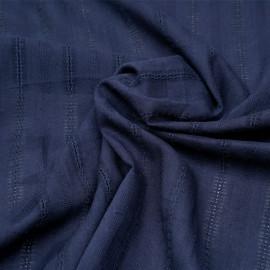 Tissu coton true navy à motif rayures brodées x 10cm