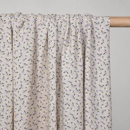 Tissu viscose birch à motif jolies fleurs blanches, roses et vertes  - pretty mercerie - mercerie en ligne