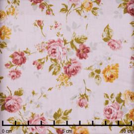 Tissu coton rose pastel à motif fleuri rose et orange - pretty mercerie - mercerie en ligne