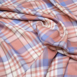 Tissu viscose tissé tartan bleu, rose et jaune pastel x 10cm