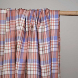Tissu viscose tissé tartan bleu, rose et jaune pastel  - pretty mercerie - mercerie en ligne