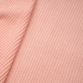 Tissu laine gaufré rose corail x 10cm