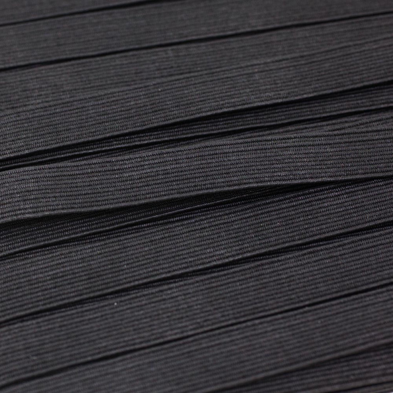 Flat elastic black 10 mm