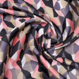 Tissu jacquard arlequin pastel rose, noir et gris x 10 CM