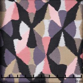 Tissu jacquard arlequin pastel rose, noir et gris - pretty mercerie - mercerie en ligne