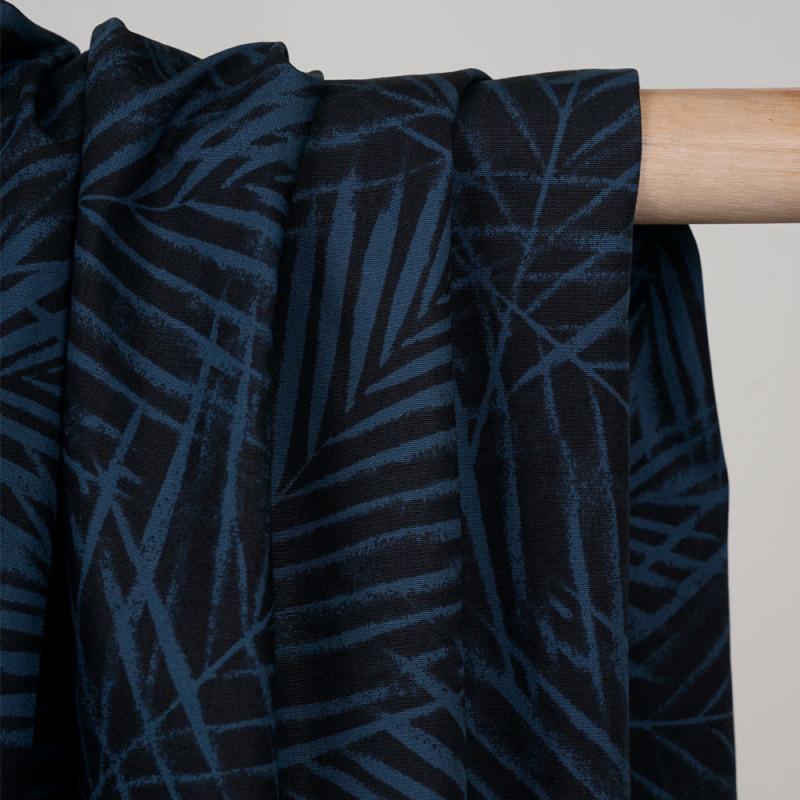Tissu coton noir à motif feuille de palmier bleu mallard  - pretty mercerie - mercerie en ligne