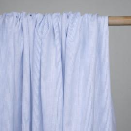 Tissu coton et lin blanc à motif tissées rayures bleu ciel - pretty mercerie - mercerie en ligne