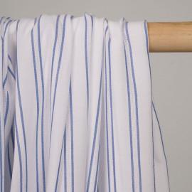 Tissu viscose blanche rayé et brodé bleu denim  - pretty mercerie - mercerie en ligne