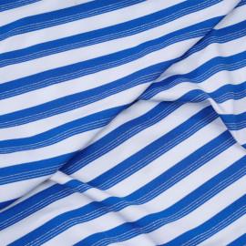 Tissu maillot de bain blanc à rayures bleu imperial et fil lurex argent  x 10cm