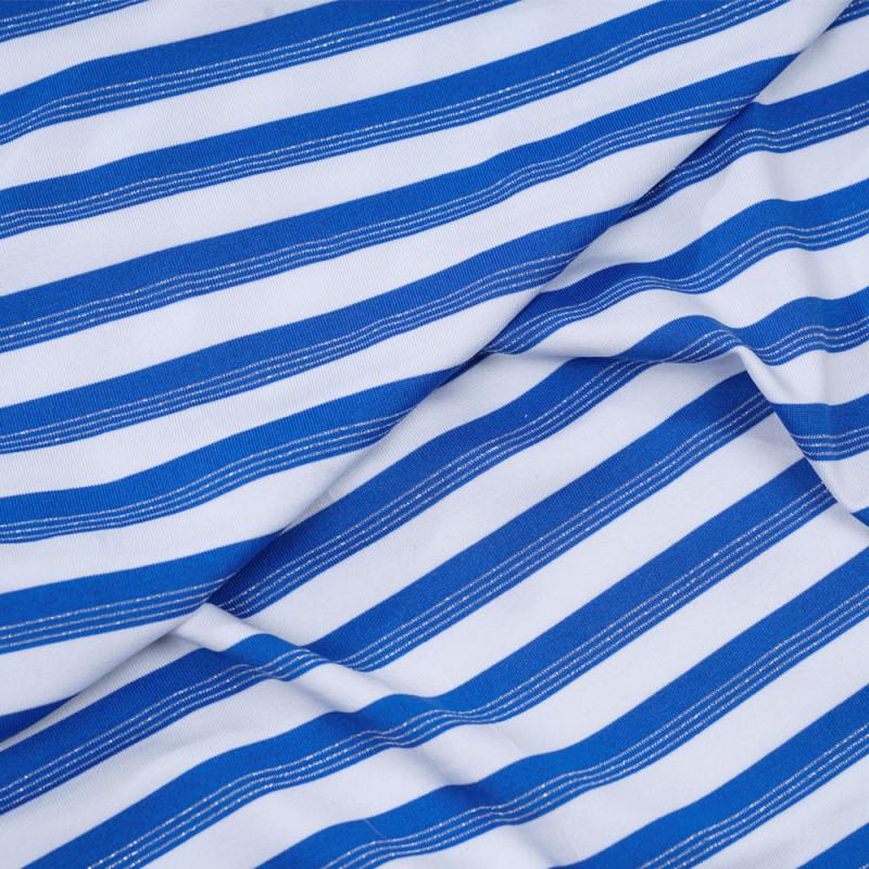 549f47db6d Tissu maillot de bain blanc à rayures bleu imperial et fil lurex argent -  pretty mercerie