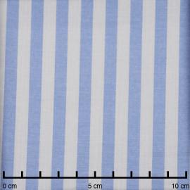 Tissu viscose blanche tissé rayure bleu ciel  - pretty mercerie - mercerie en ligne