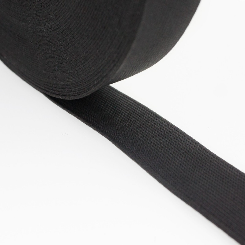 Flat elastic black 25 mm