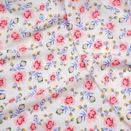 Tissu viscose écru imprimé fleurs pastel roses, bleues et jaunes  x 10 CM