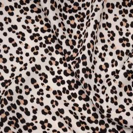 Tissu coton crème à motif imprimé léopard noir et amande x 10cm