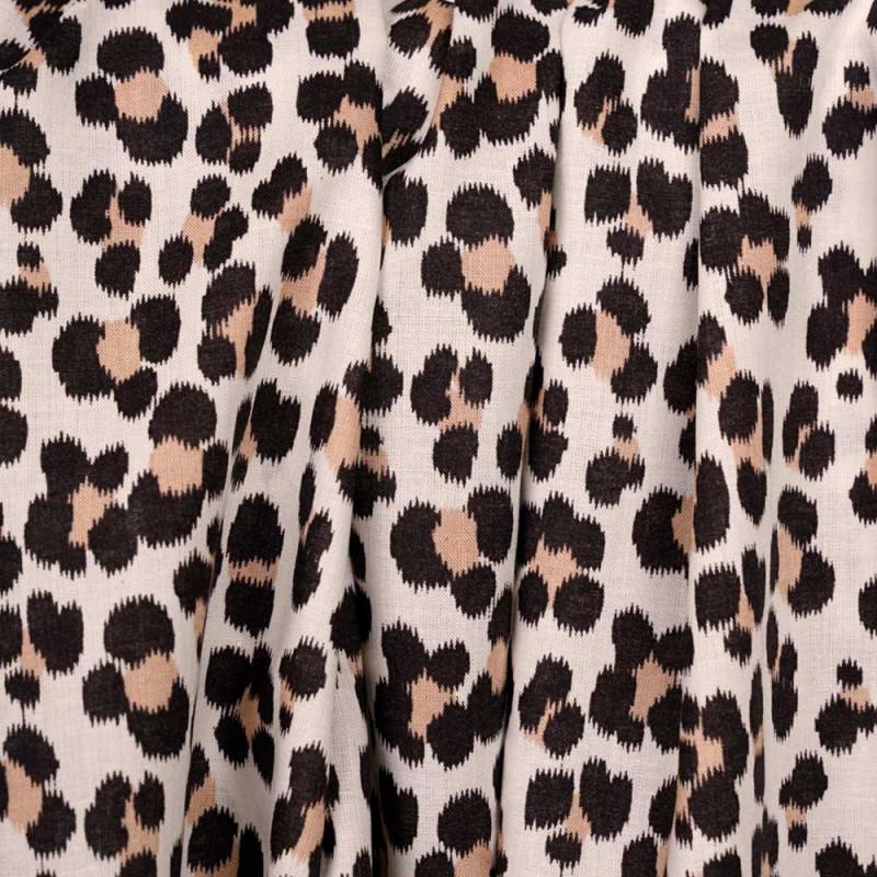 Tissu coton crème à motif imprimé léopard noir et amande  - pretty mercerie - mercerie en ligne